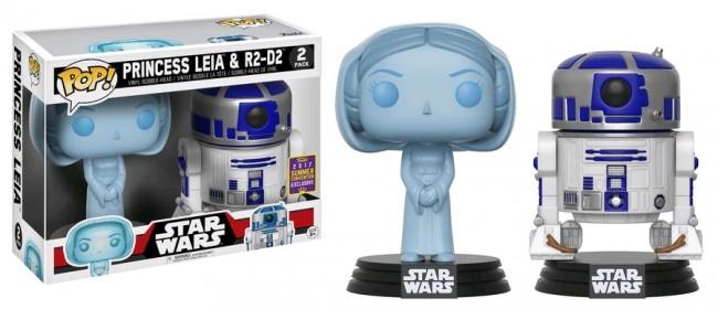 Star Wars - Leia Hologram & R2-D2 2Pk Pop! Vinyl SDCC 2017