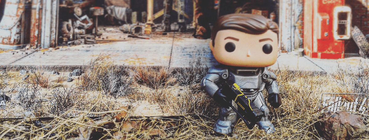 Fallout four's player character pop vinyl standing in the wasteland.